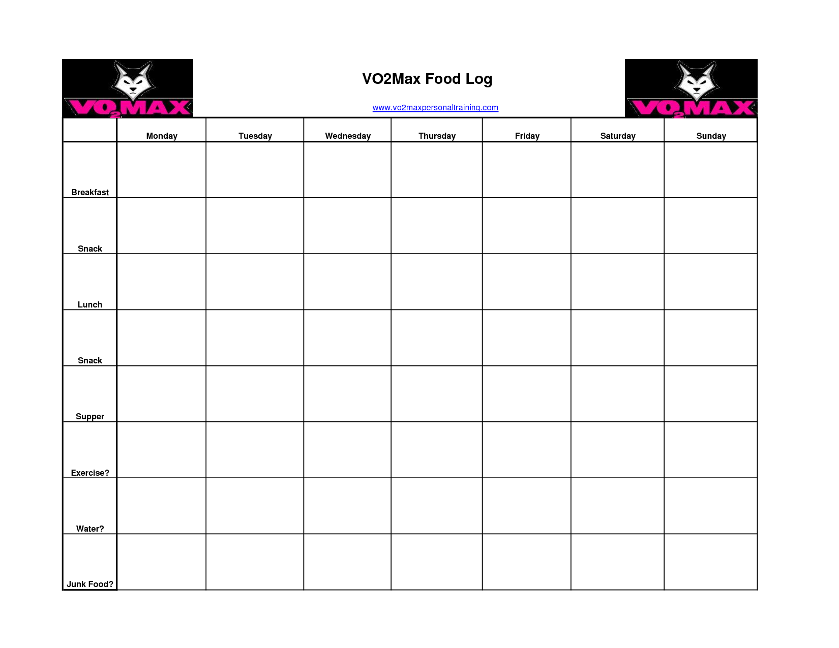 6 Images of Food And Exercise Log Printable