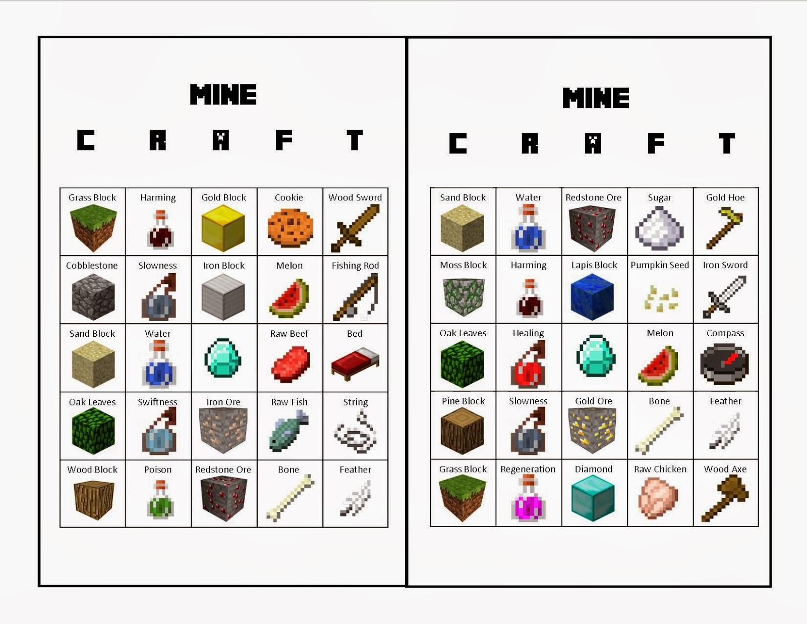 8 Images of Free Printable Minecraft Bingo Cards