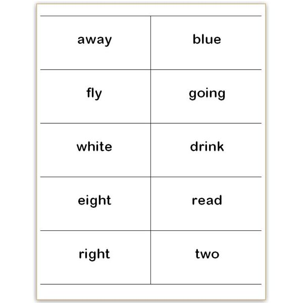 8 Images of Dolch Sight Word Cards Printable