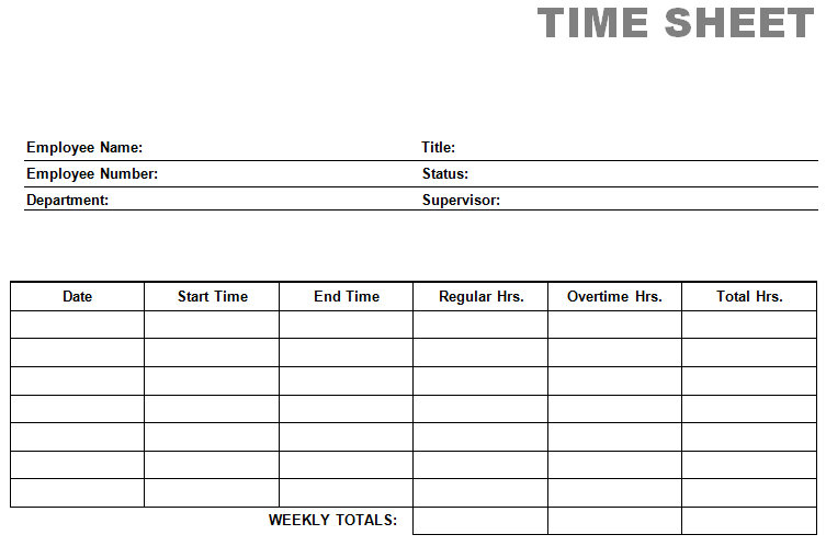 4 Images of Printable Weekly Time Card Template
