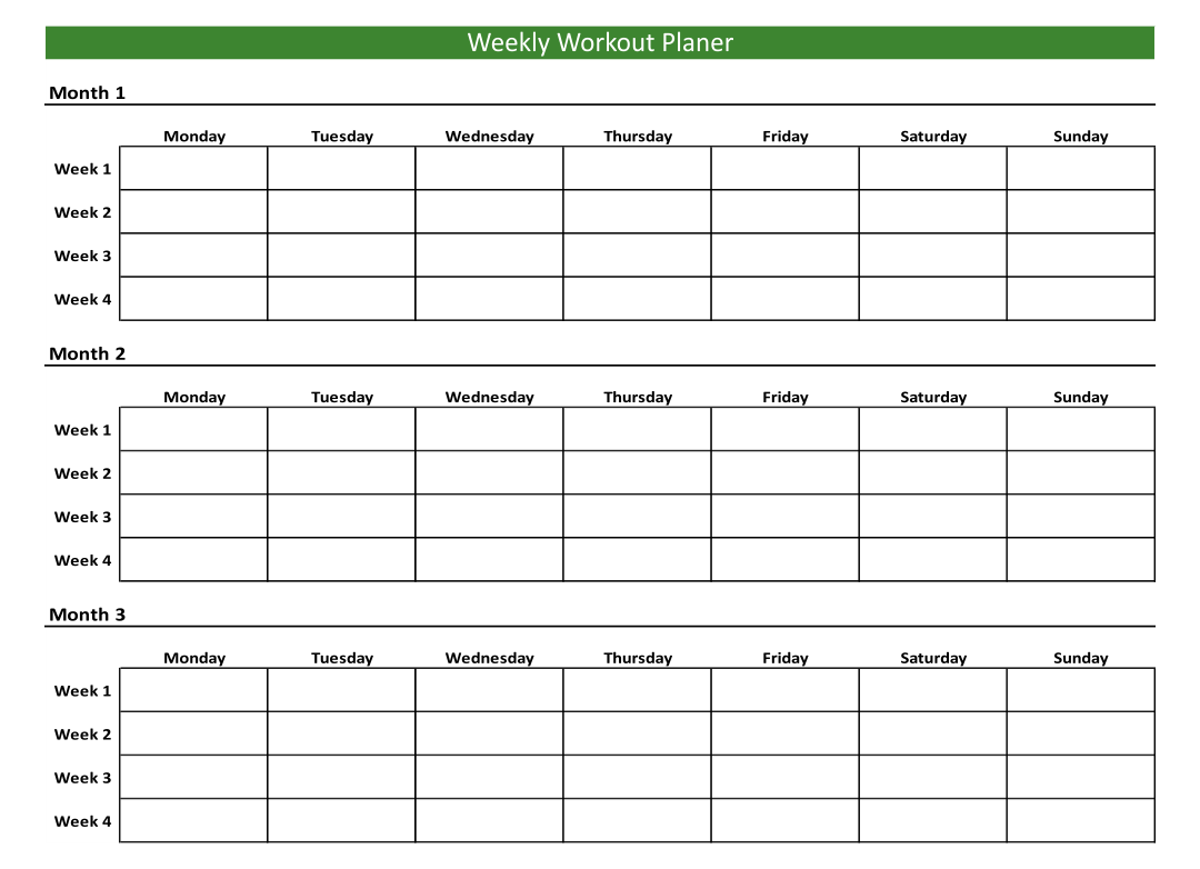 6 Best Free Printable Weekly Workout Schedule Printablee Com