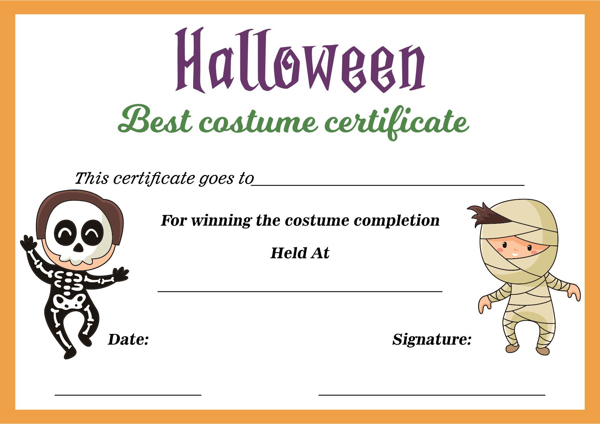 Halloween Best Costume Award Printable Certificates