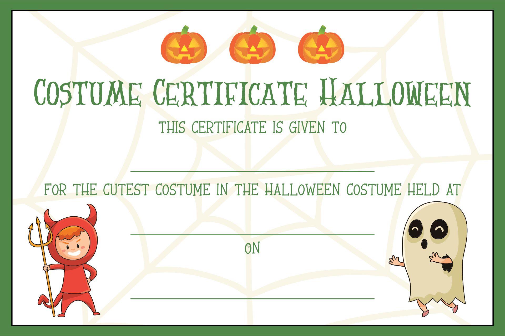 Halloween Costume Award Certificate Template