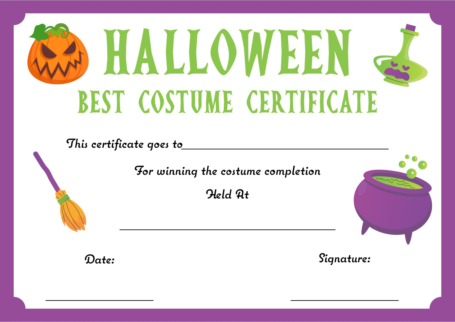 6 Images of Halloween Certificates Printable