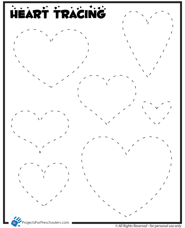 6 Images of Heart Traceable Printable