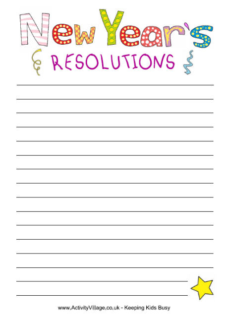6 Images of Printable New Year's Resolution Writing
