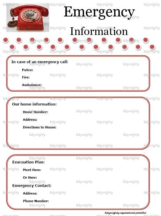 emergency contact form template for child - 6 best images of emergency information printable