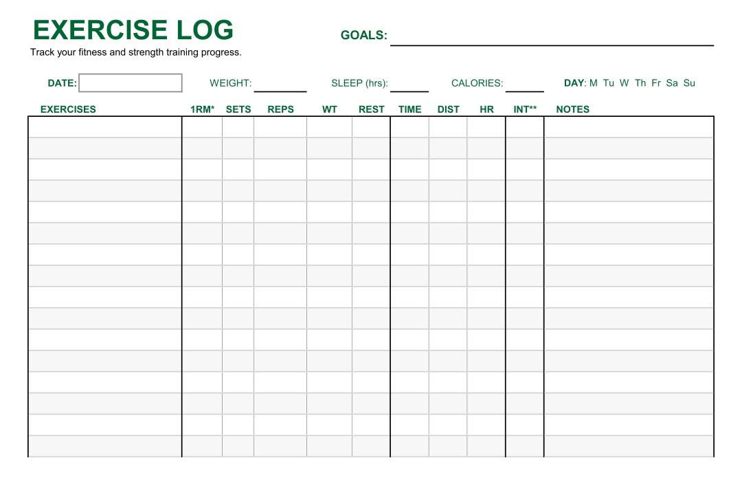 Printable Exercise Log Workout