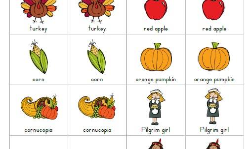 4 Images of Thanksgiving Memory Game Printable