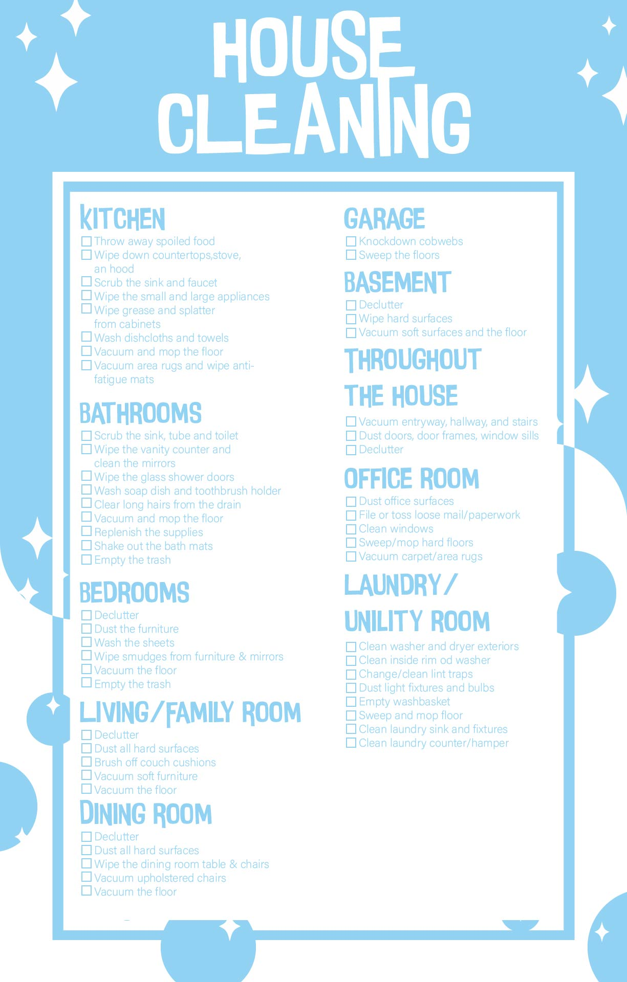 Residential House Cleaning Checklist