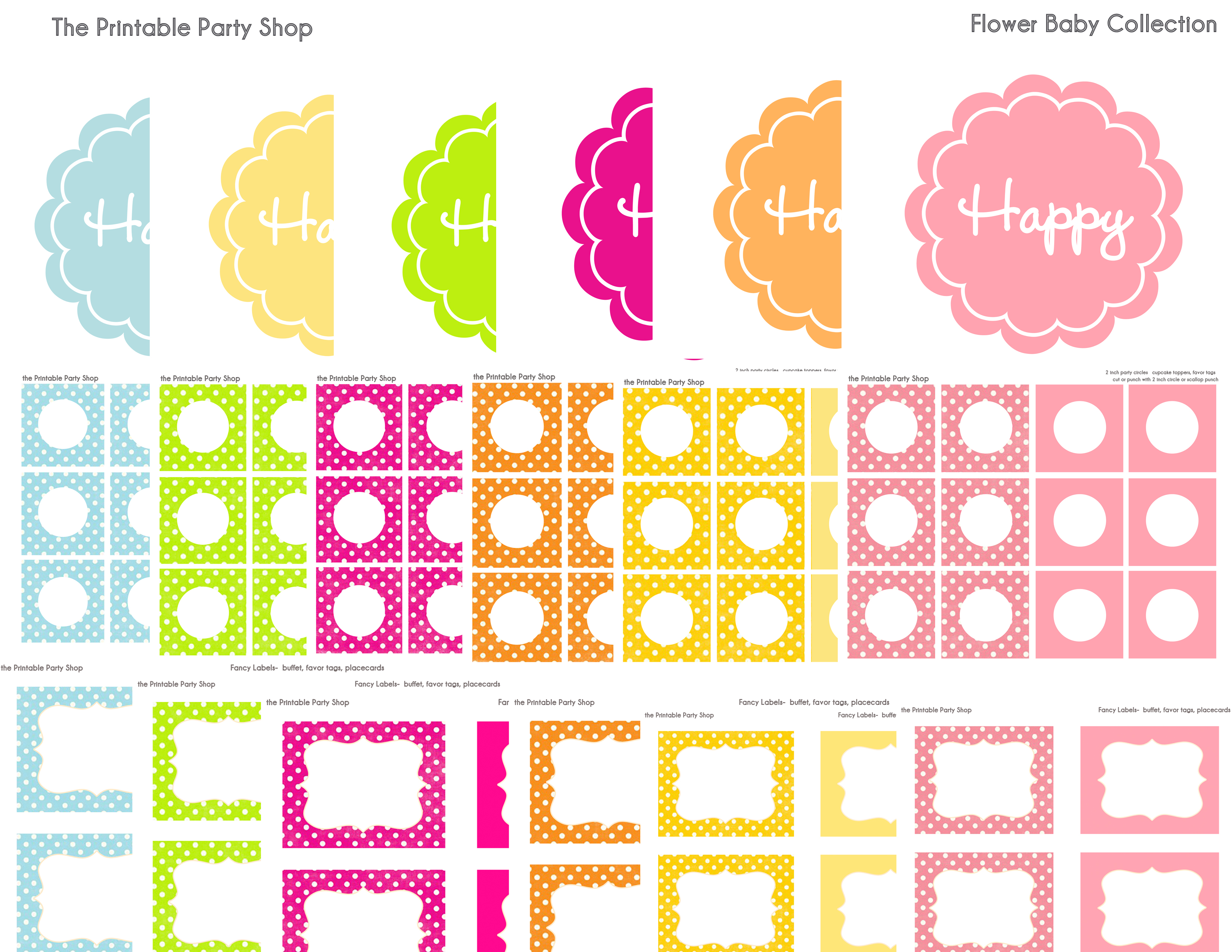 6 Images of Printable Flower Birthday Party