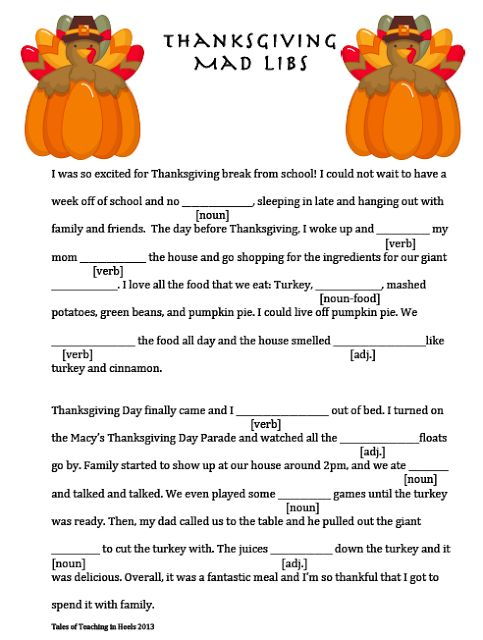 7 Images of Thanksgiving Mad Libs Free Printable