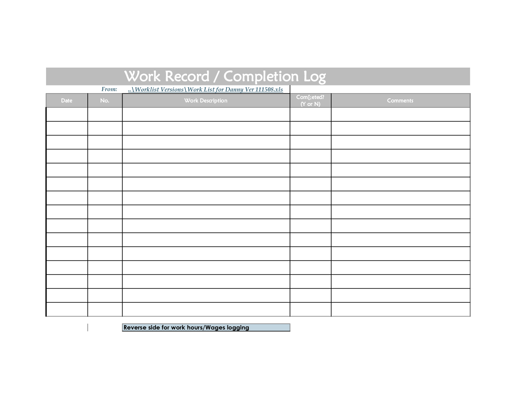 5 best images of weekly log sheets printable weekly for Daily work record template