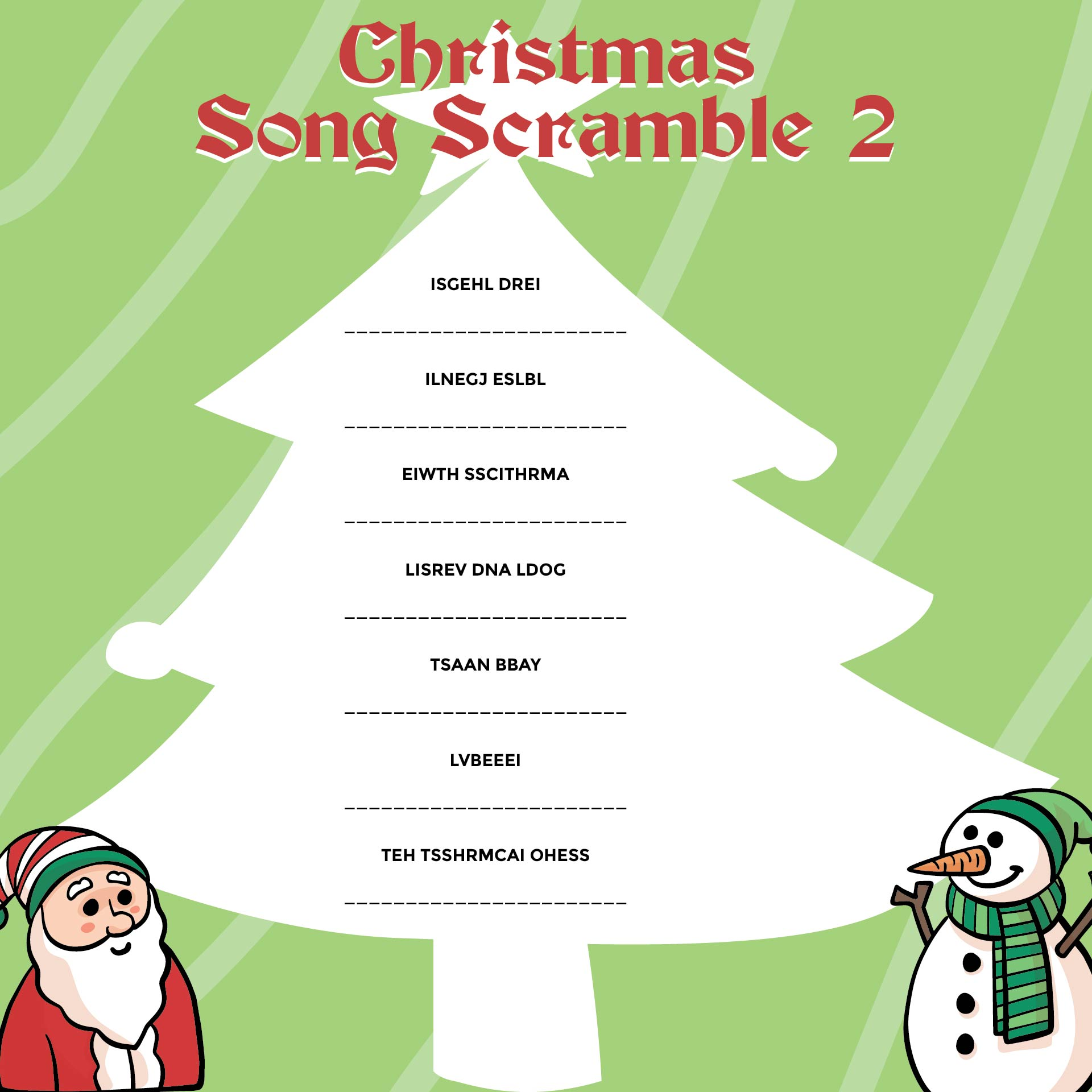 2 Christmas Song Scramble Answers