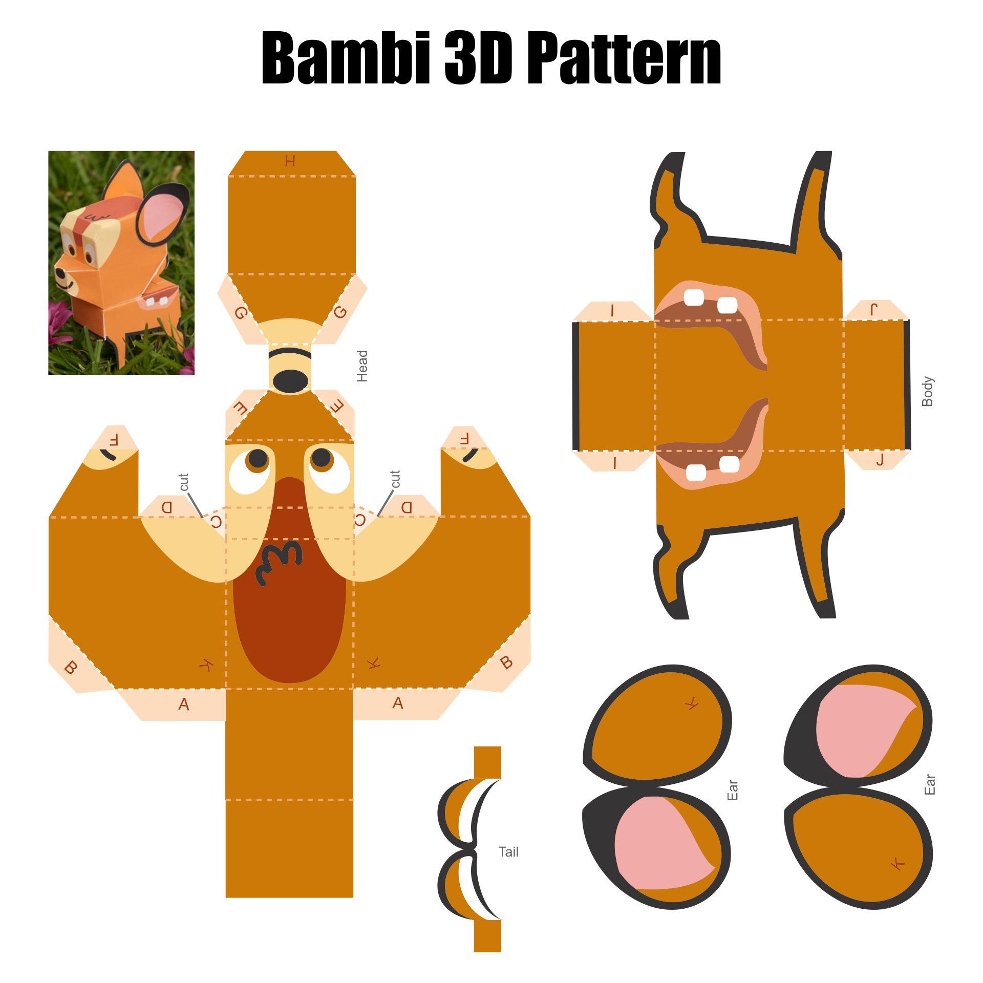 3D Paper Animal Cutouts Printable