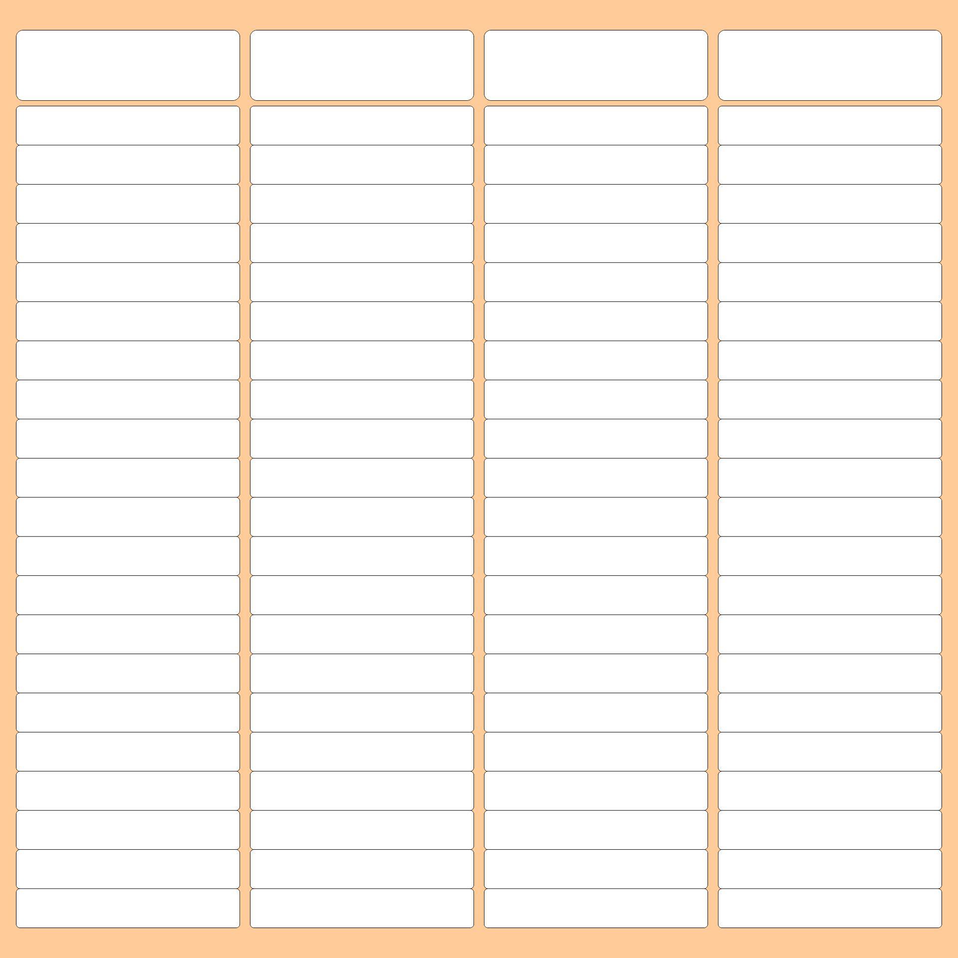 4 Column Chart Template