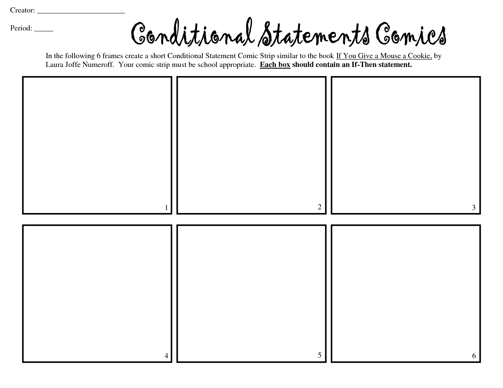 6 box comic strip template