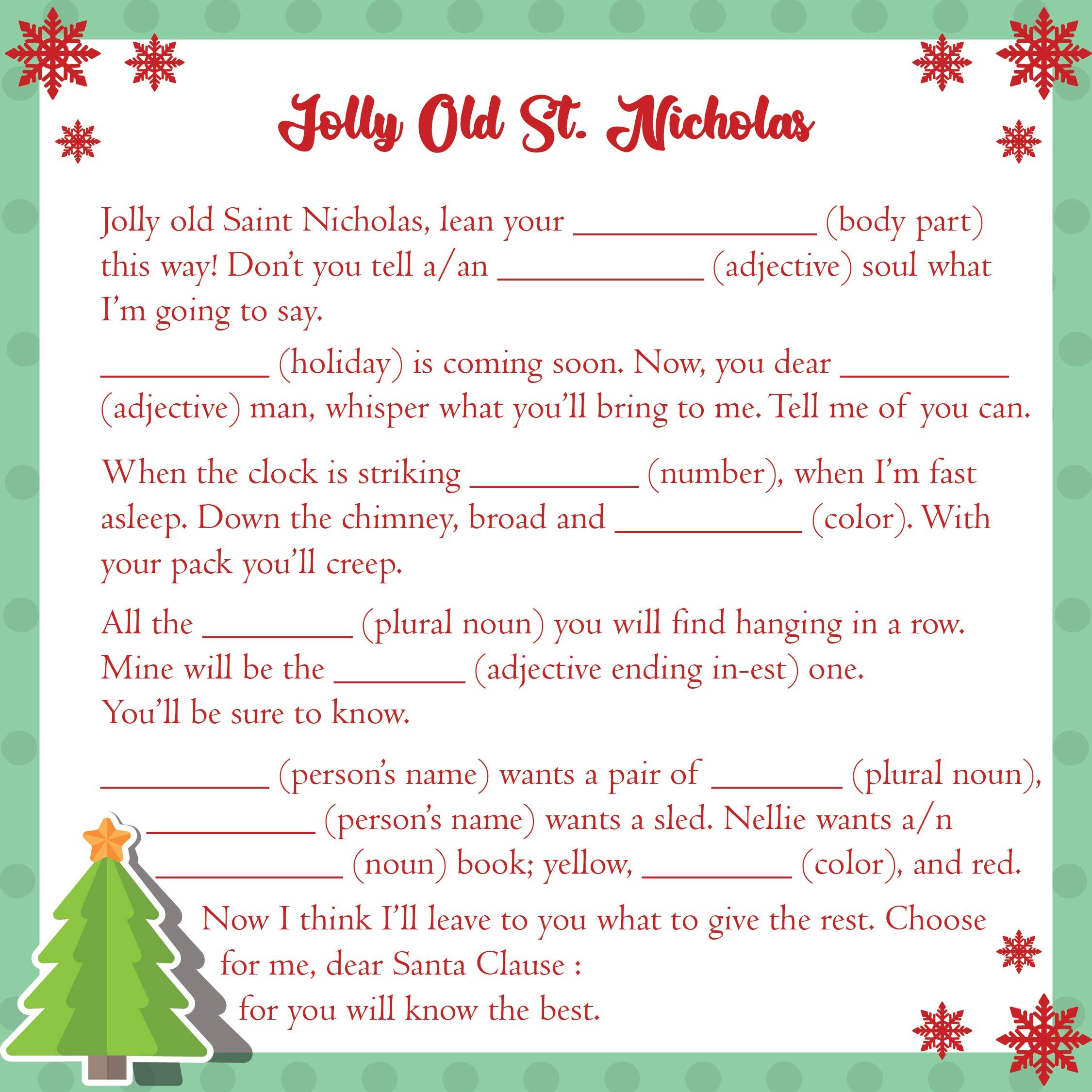 Adult Christmas Mad Libs Printable