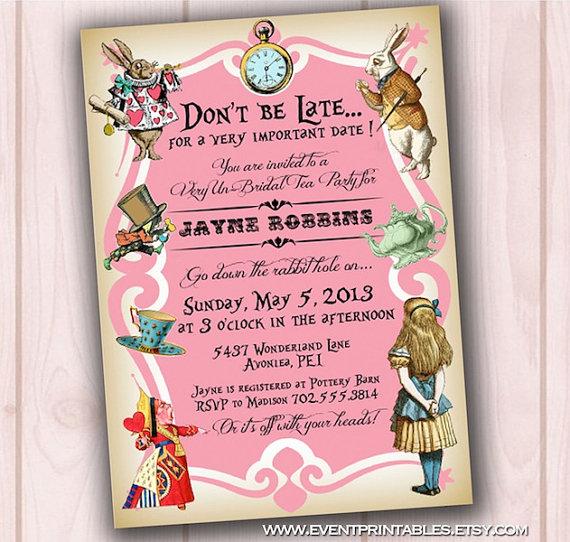 5 Best Images Of Alice In Wonderland Invitations Printable