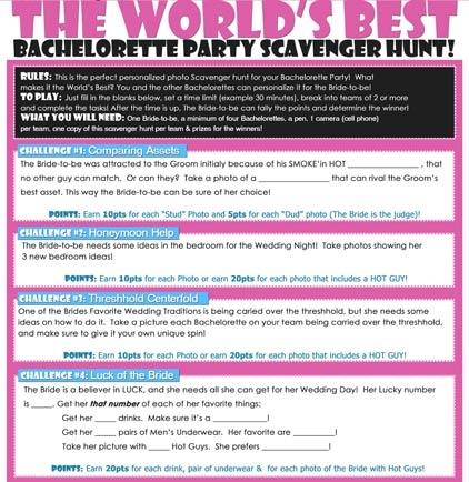 5 Best Images Of Bachelorette Party Scavenger Hunt