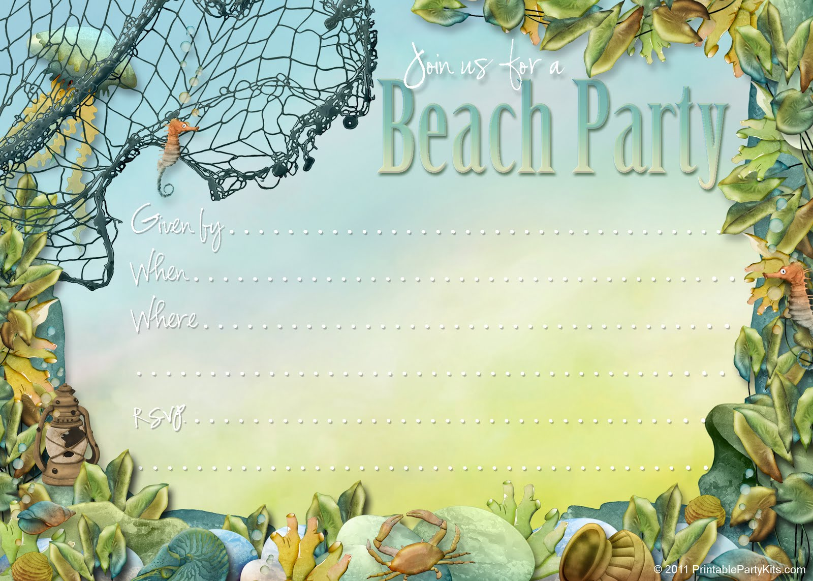6 Best Images of Free Printable Beach Stationery Border ...