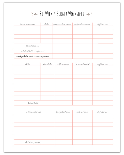 Bi-Weekly Budget Worksheet Printable