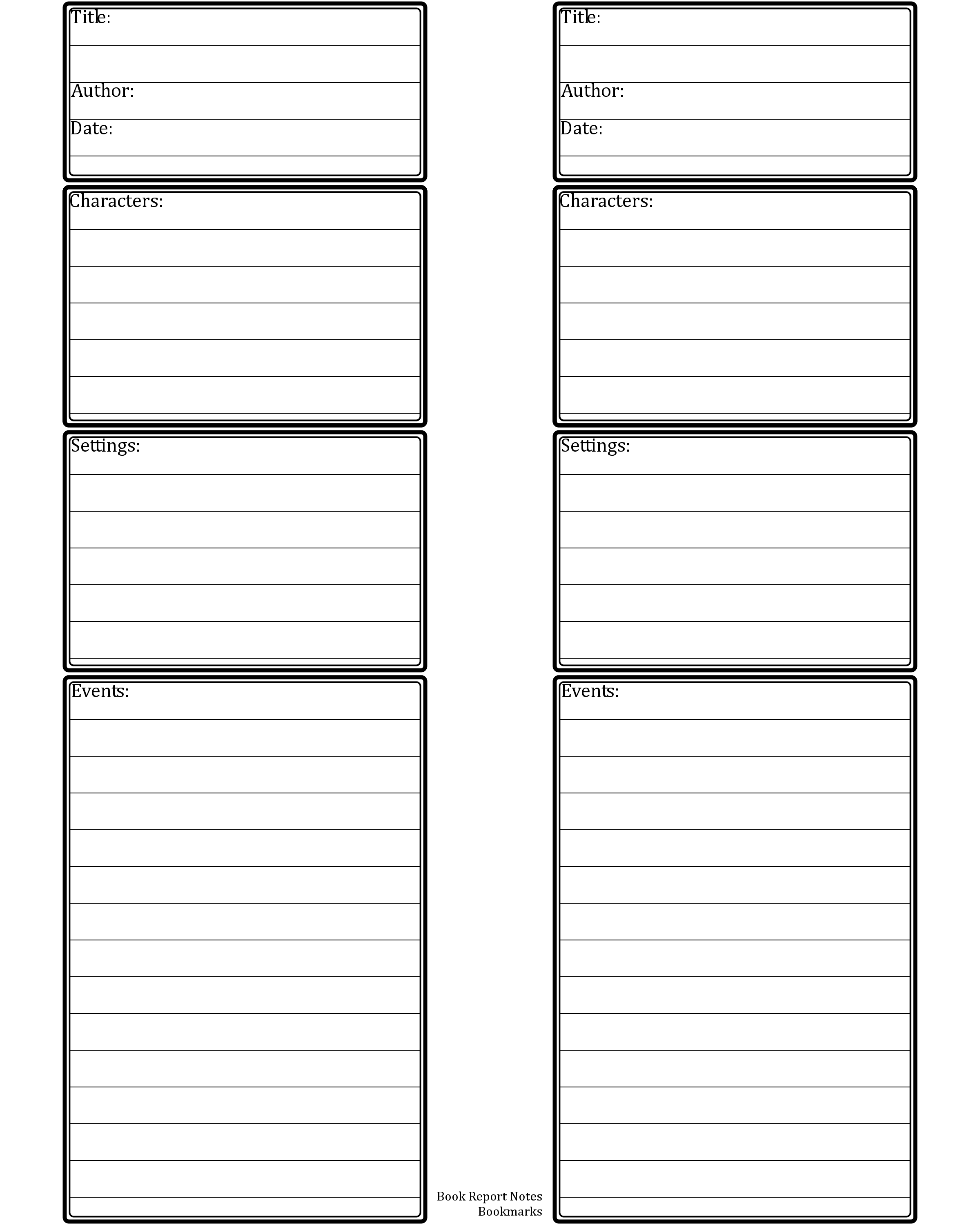 book report blank template