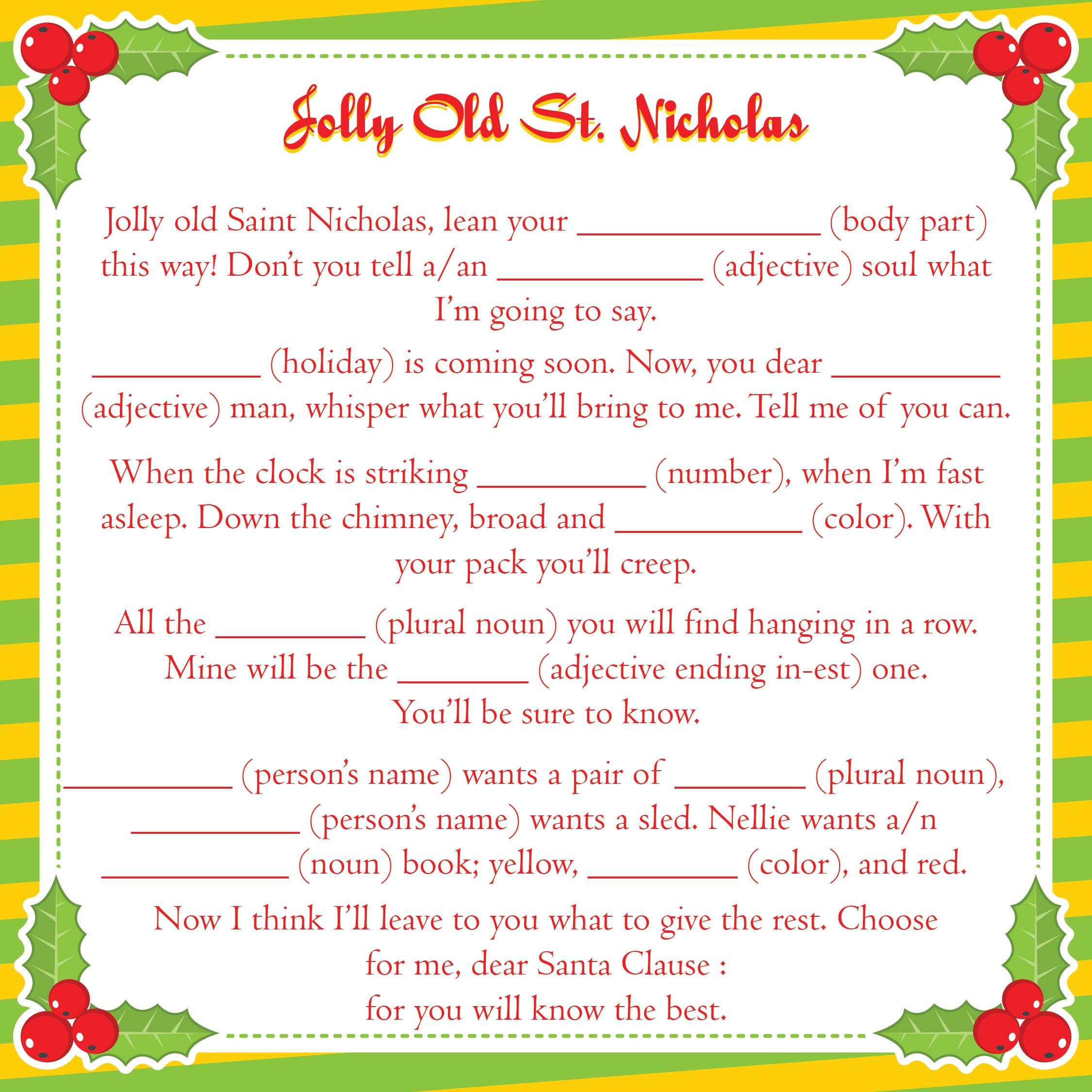Christmas Carol Mad Libs Printable