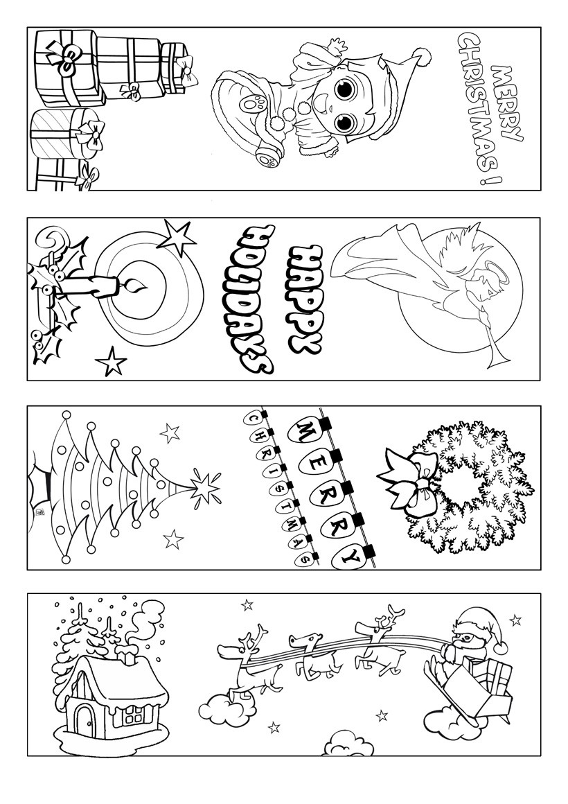6 Images of Christmas Printable Bookmarks To Color