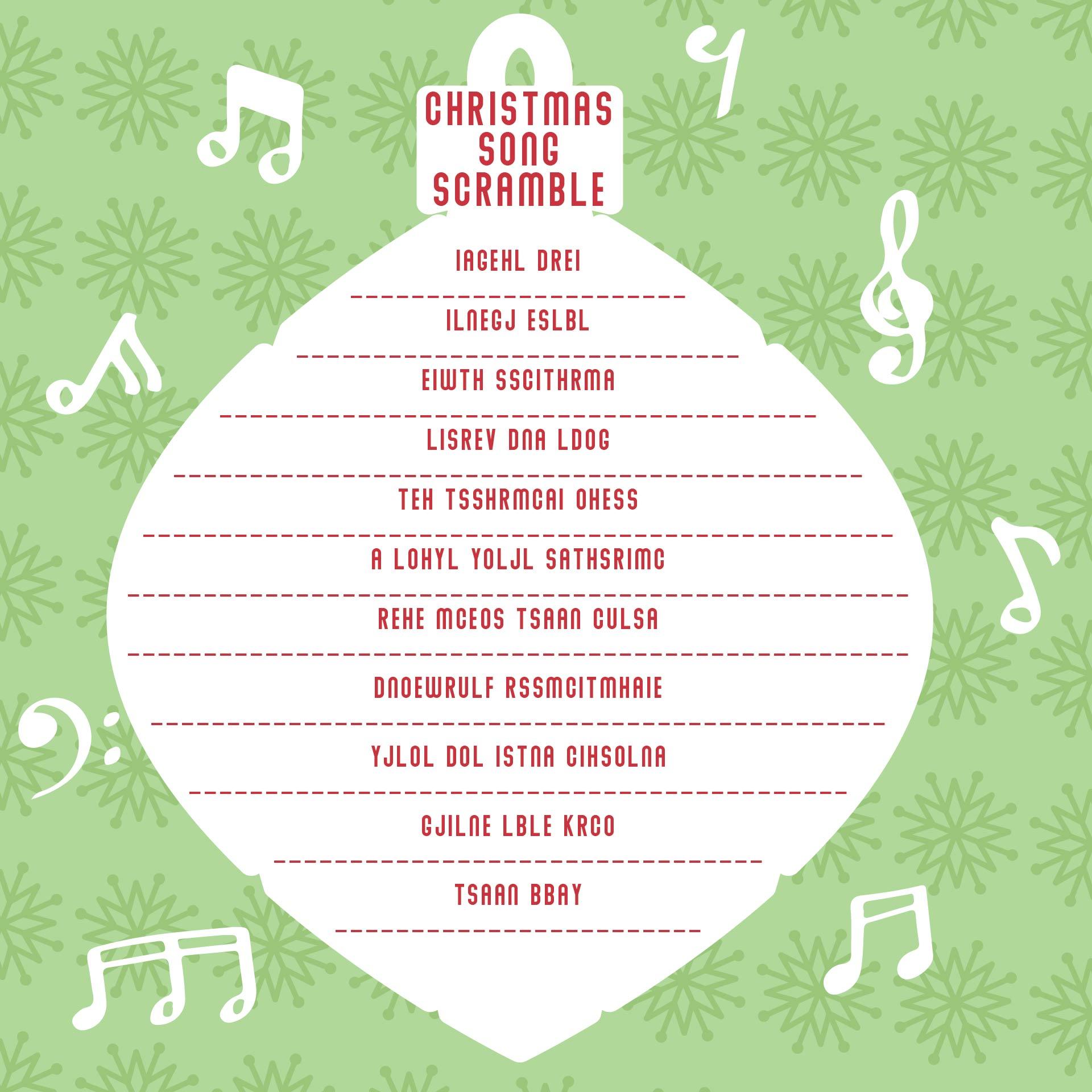 Christmas Song Scramble Game Printable