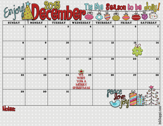 6 Images of Cute Printable December Calendar