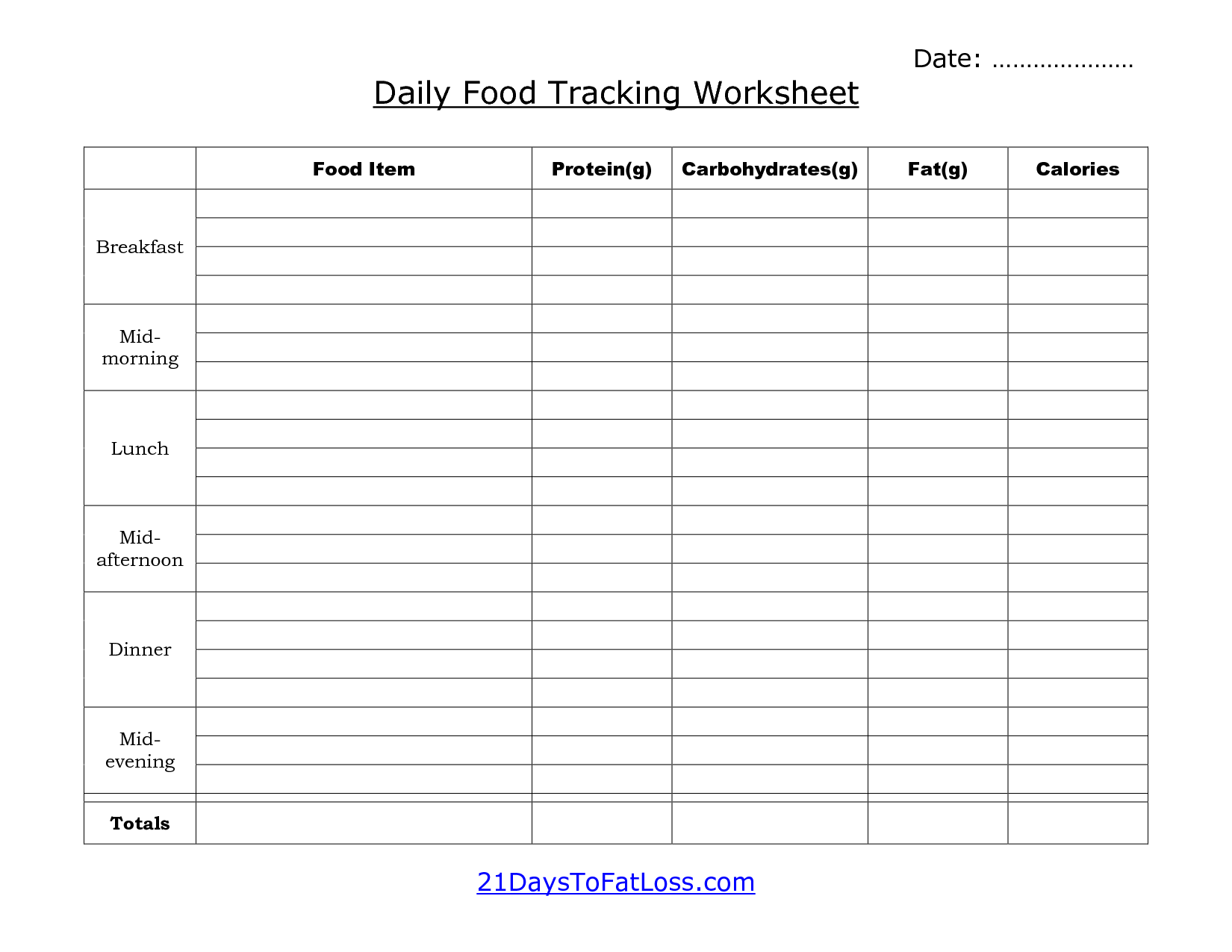 7 Images of Free Printable Daily Food Log