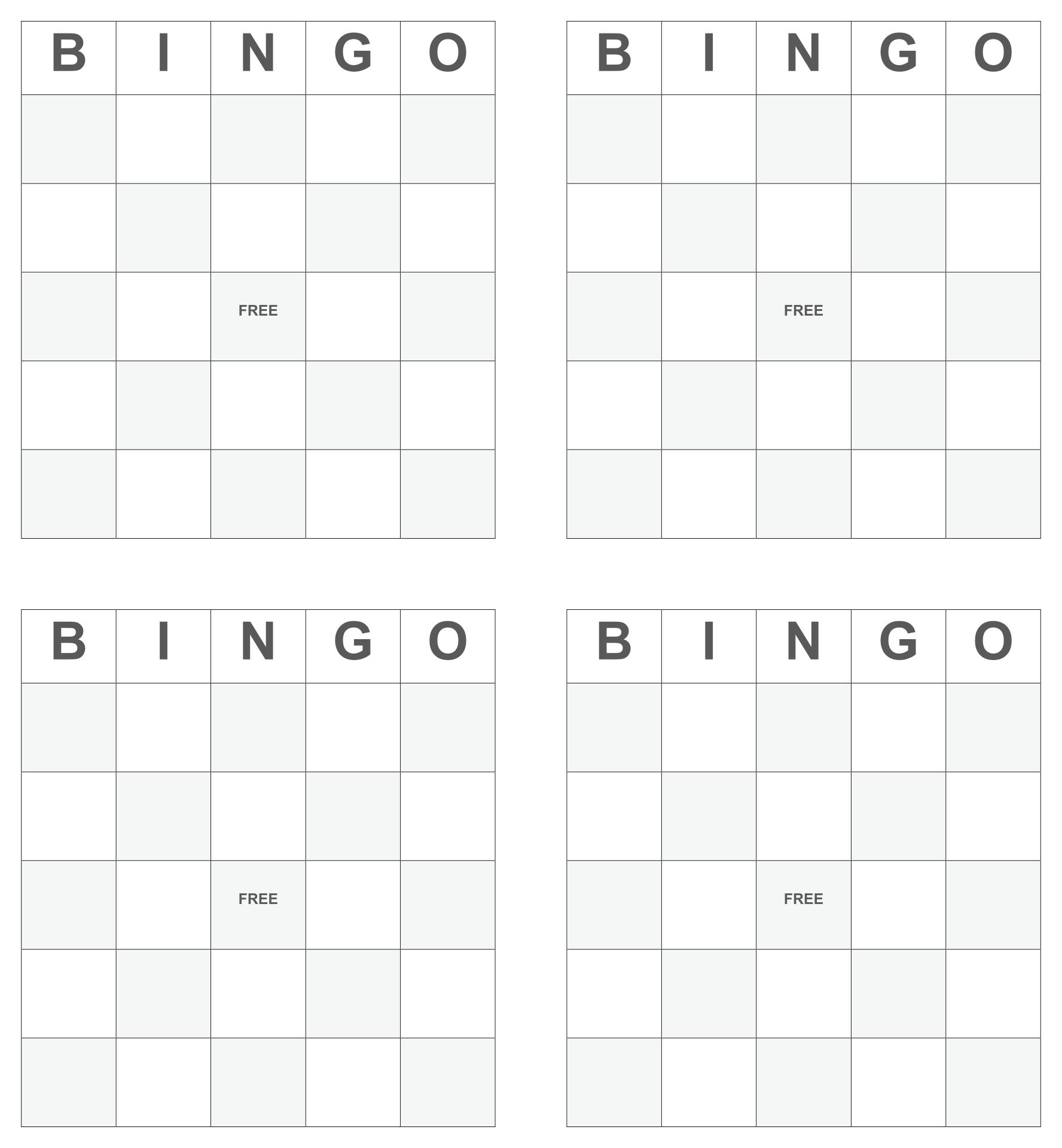 Blank Bingo Card Template