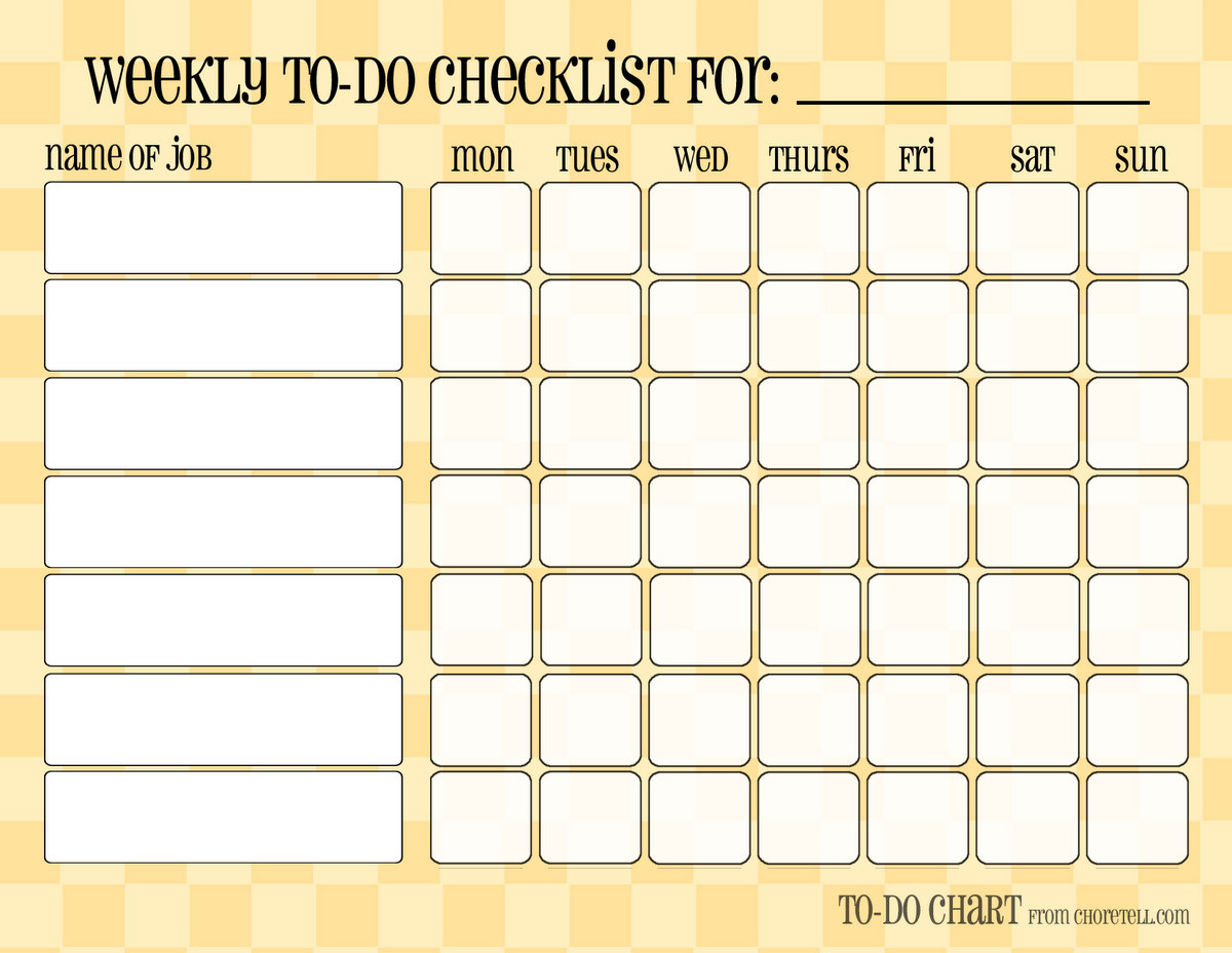 7 Images of Free Printable Blank Weekly Chore Charts
