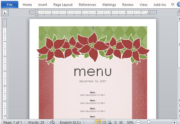6 Images of Free Printable Holiday Menu