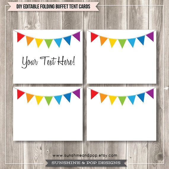 5 Images of Rainbow Art Party Tag Free Printable Buffet Food Label