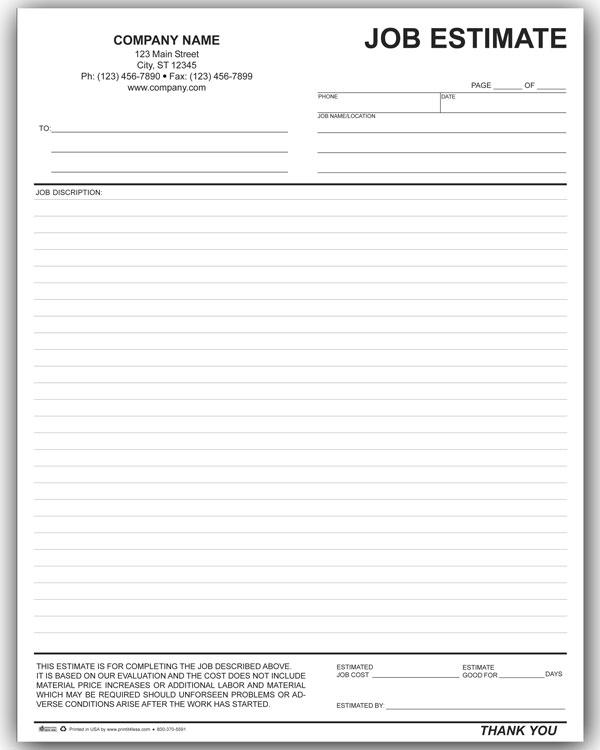 5 Best Images Of Free Printable Job Estimate Form Free Printable Estimate Forms Templates Construction Job Estimate Templates And Free Job Estimate Form Templates Printablee Com