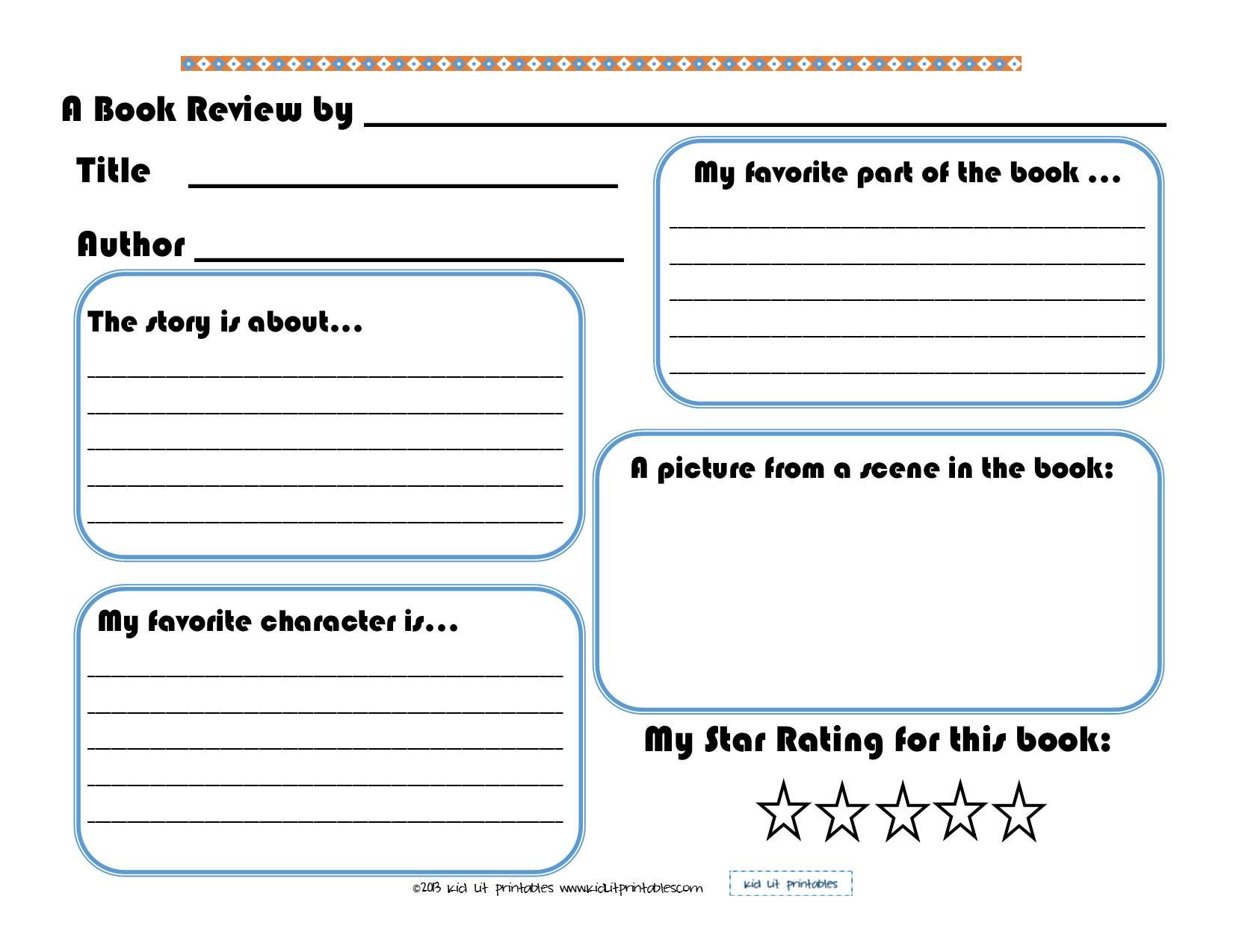 Kids book report format