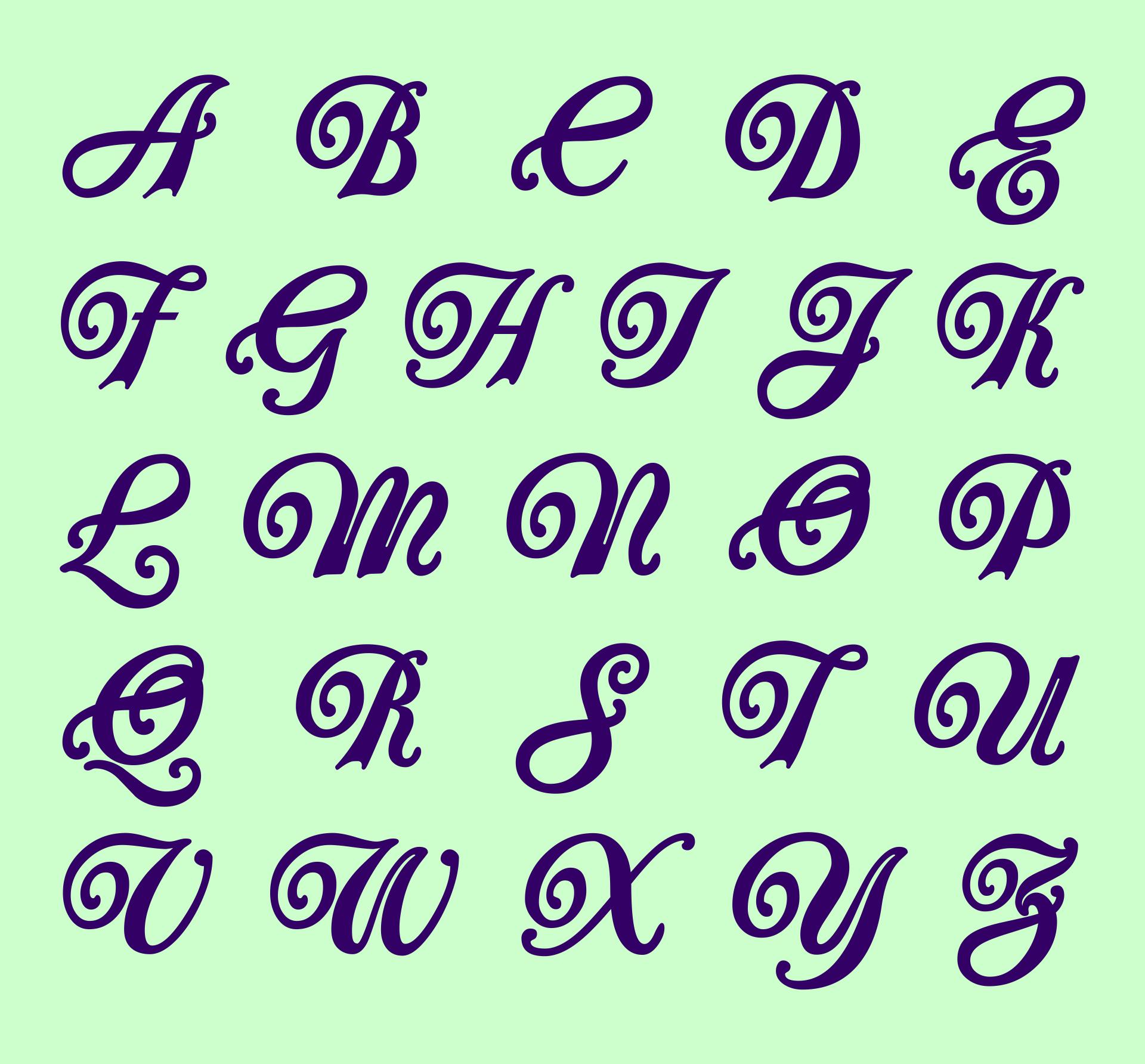 Printable Calligraphy Alphabet Fonts