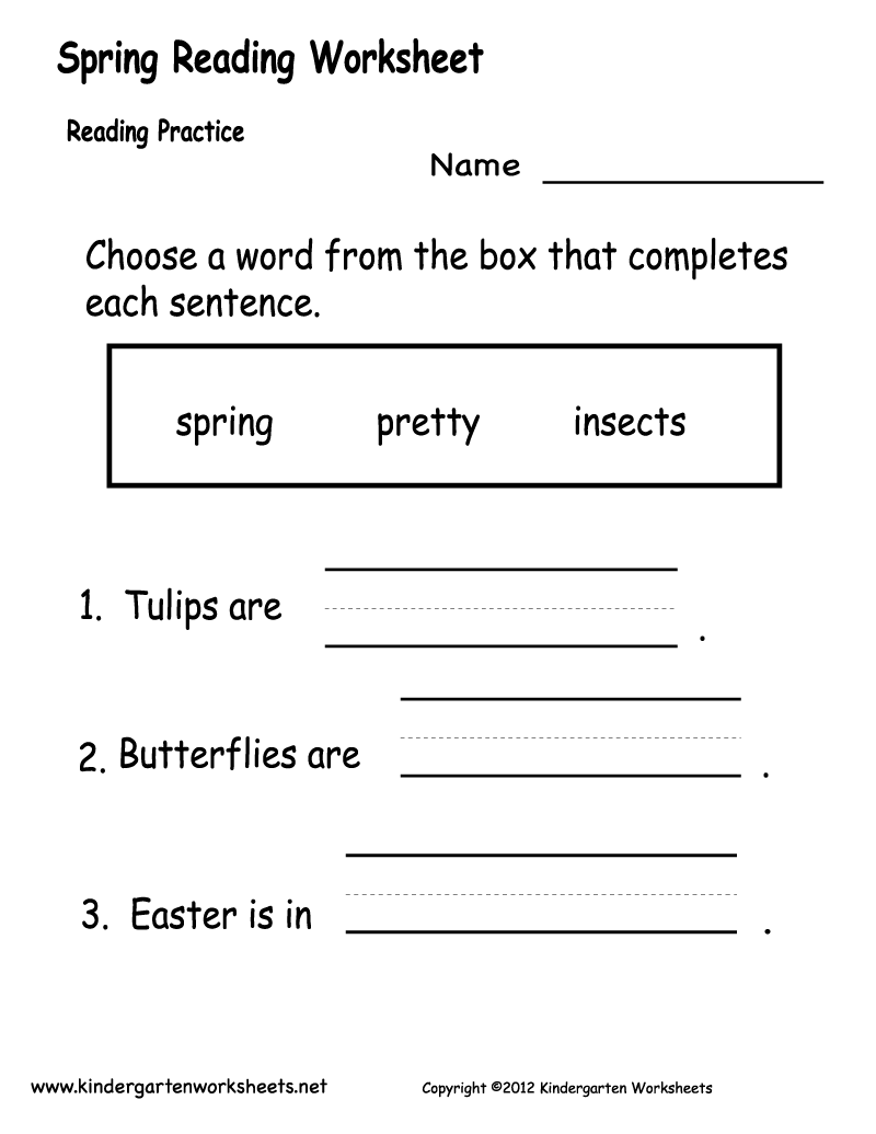 Printable Reading Prehension Worksheets For Kindergarten