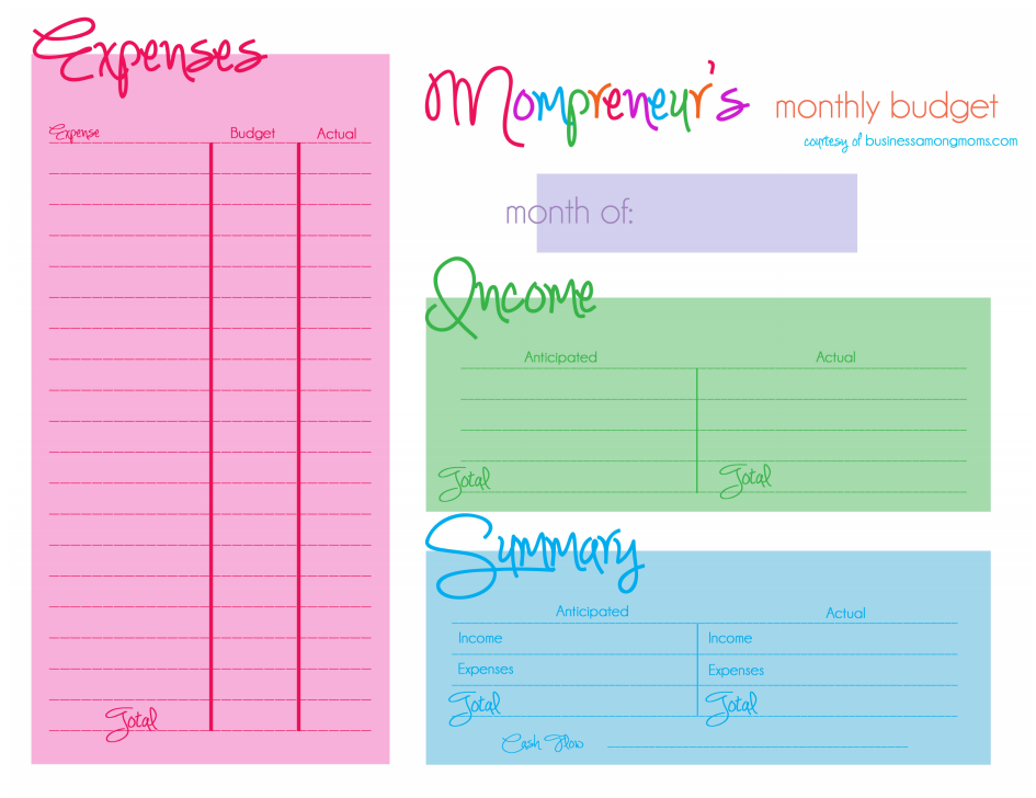 Free Printable Monthly Budget Template