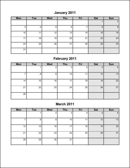 Quarterly Monthly Calendar : Best images of calendar printable quarterly