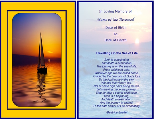 8 Best Images Of Free Printable Funeral Card Templates - Free