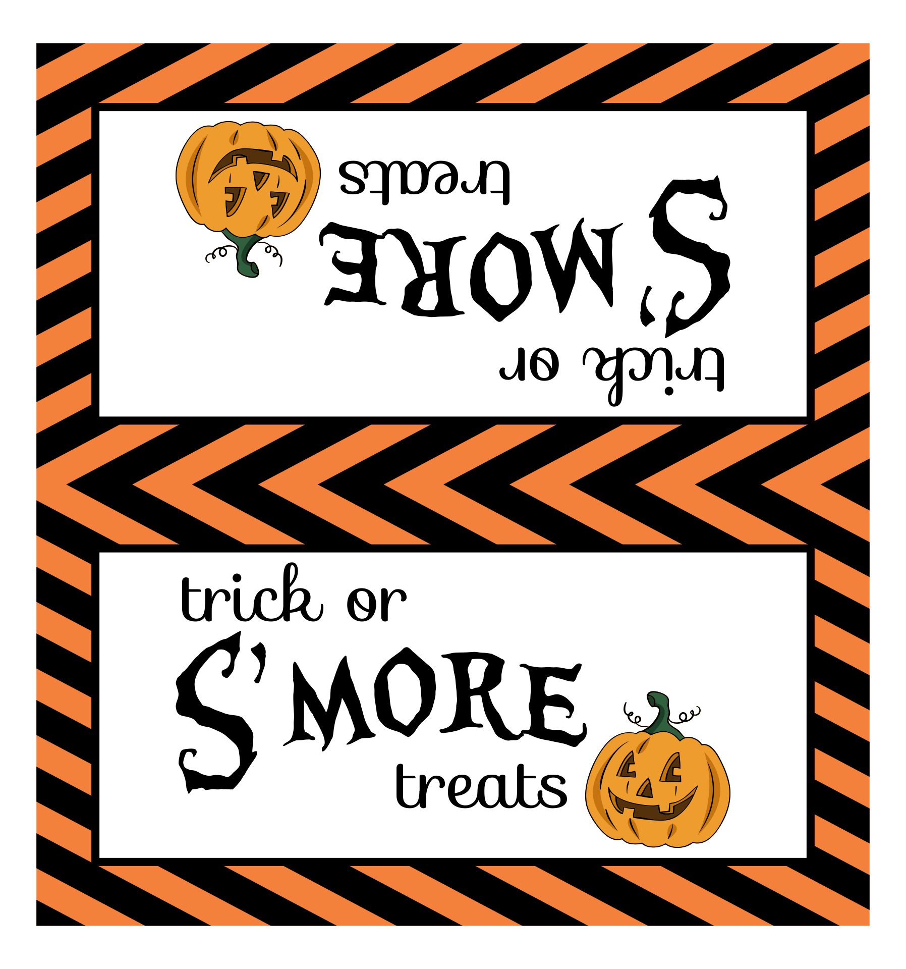 4 Images of Halloween S'mores Printable Tag