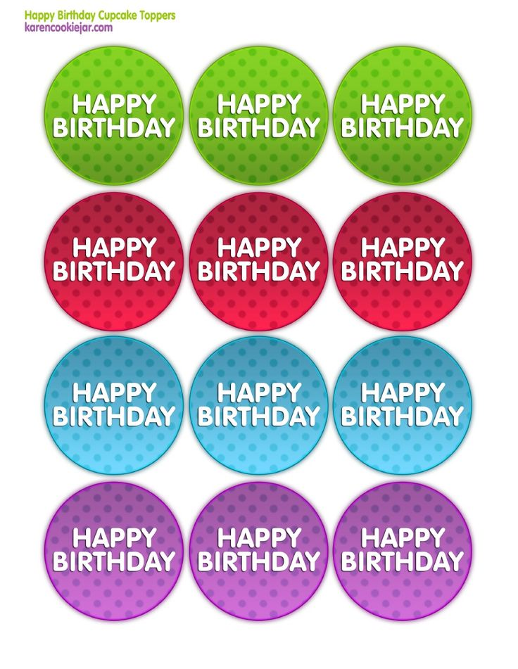 5 Images of Free Printable Happy Birthday Cupcake Toppers