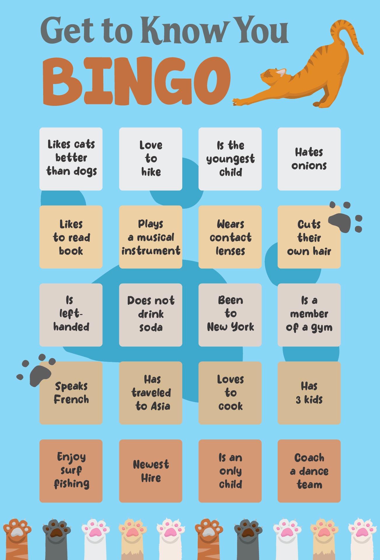 Human Bingo Questions Icebreaker