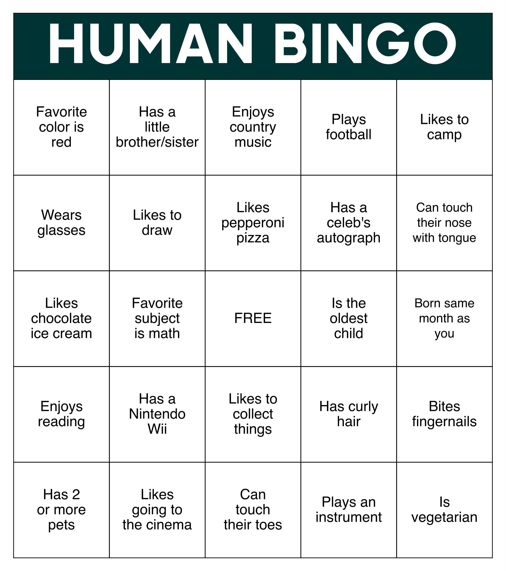 Printable Human Bingo Templates