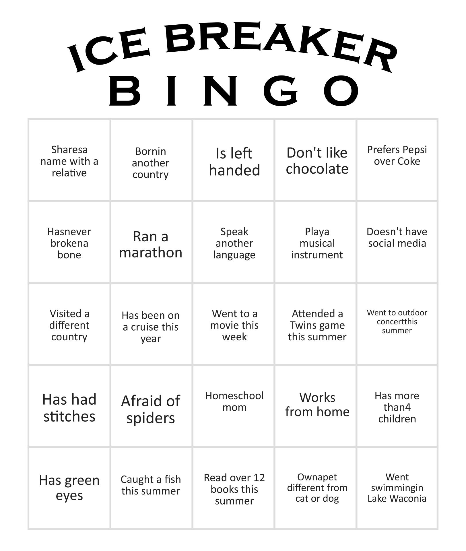 Ice Breaker Bingo Card Template