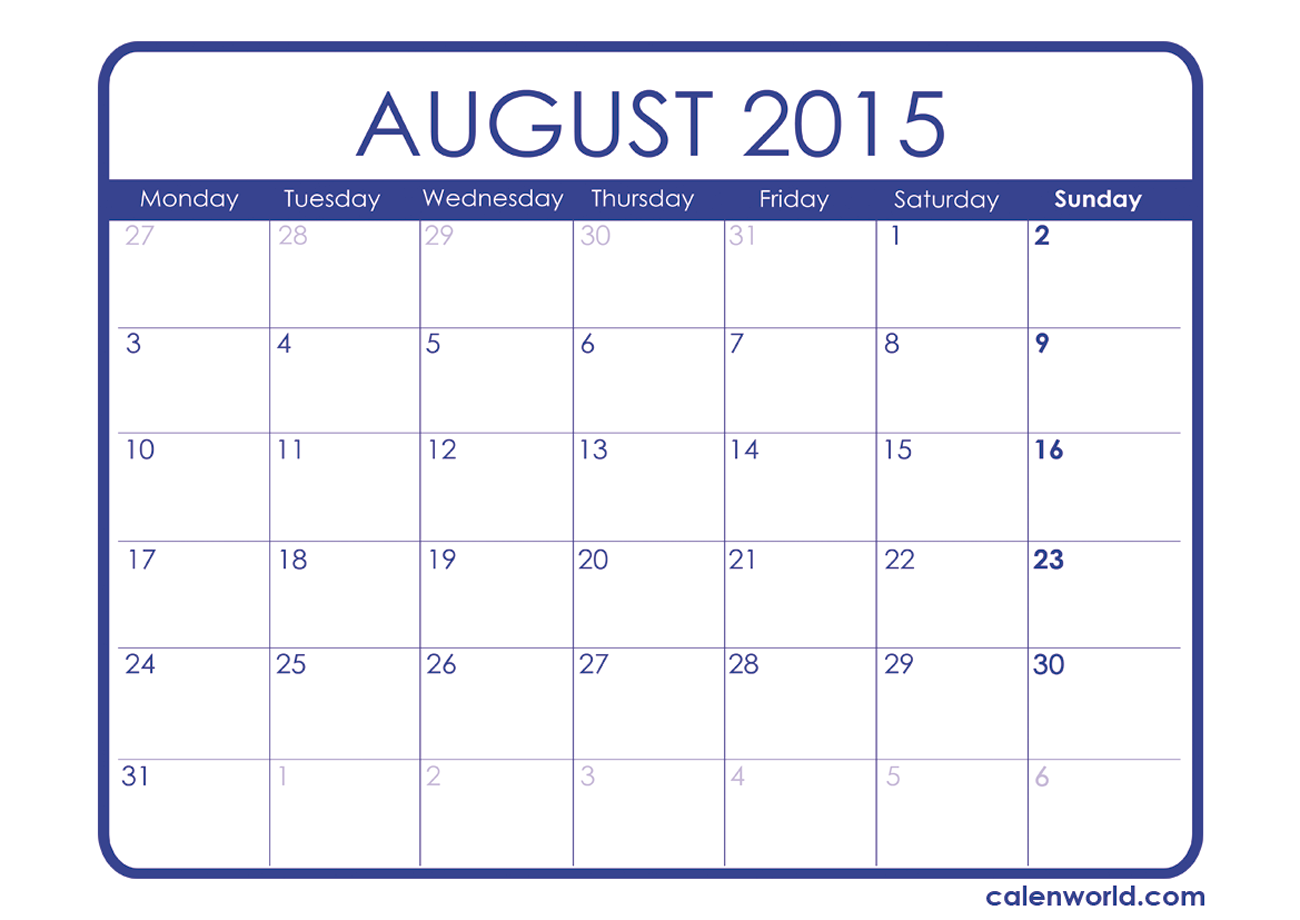 8 Images of August 2015 Calendar Printable