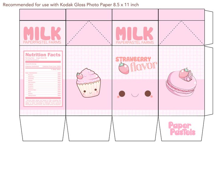 9 Images of Milk Kawaii Printable Papercraft